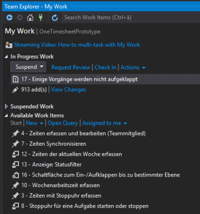 Visual Studio Work Items