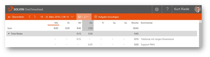 Screenshot TrackTimeSheet