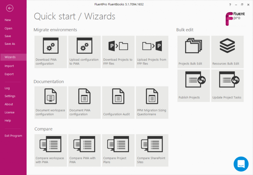 Quick Start Wizards Menu