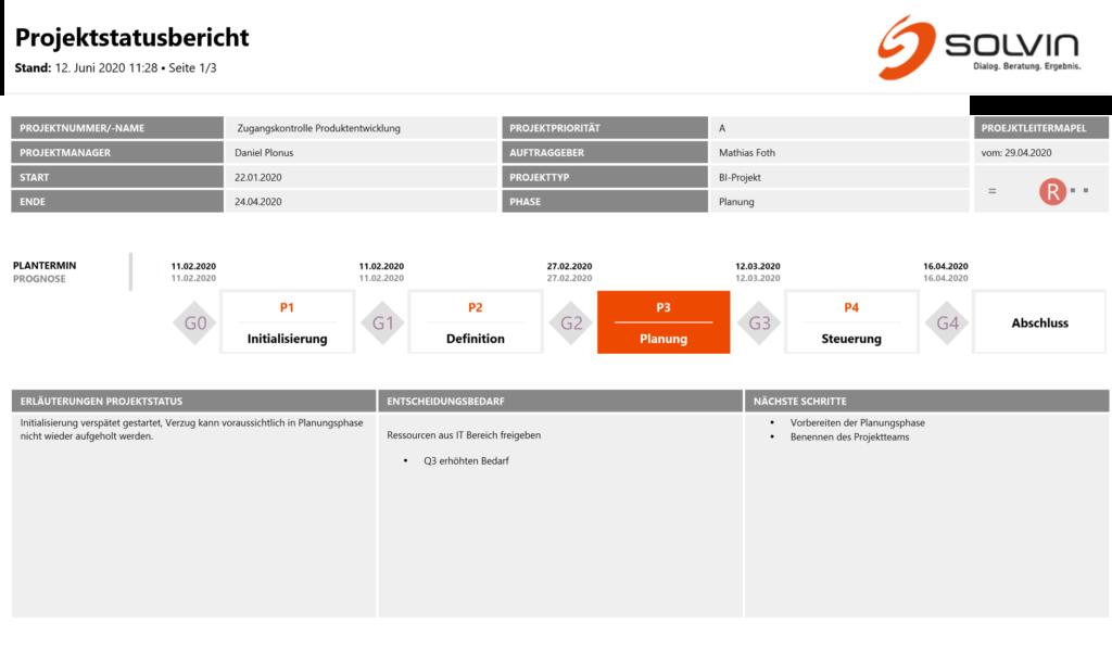 Server Reporting Services Projektstatusbericht Erste Seite