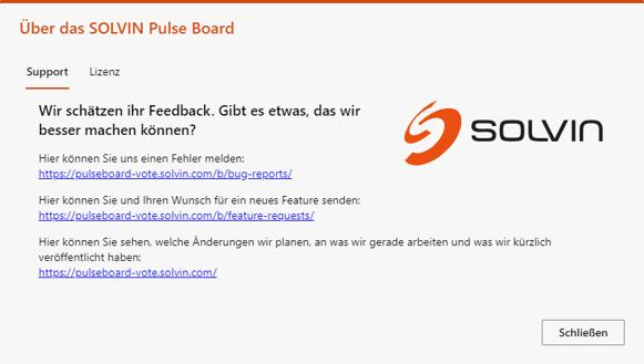SOLVIN Pulse Board Info-Dialog