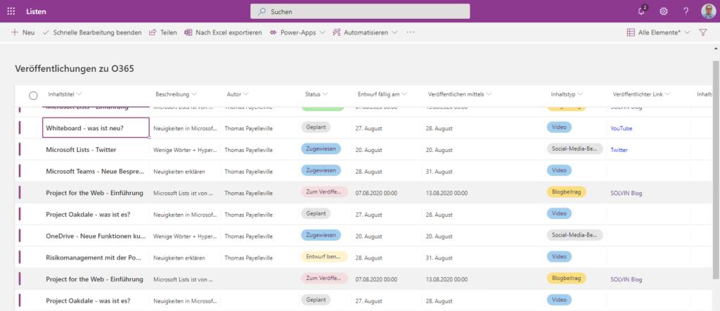 Microsoft Lists Schnellerfassungsmodus