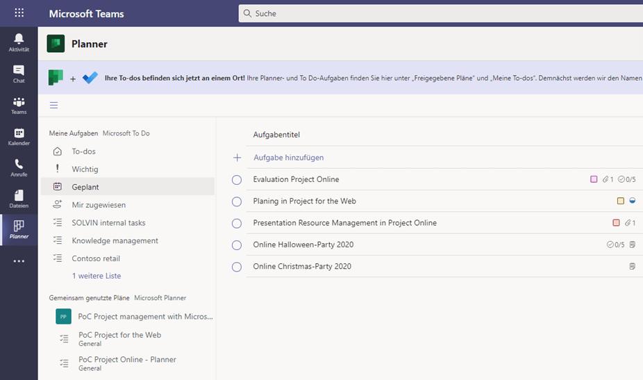 Planner App für Teams Navigation innerhalb der App