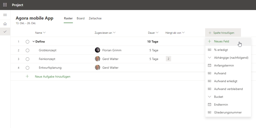 Benutzerdefinierte Felder in Project for the web Neues Feld auswählen