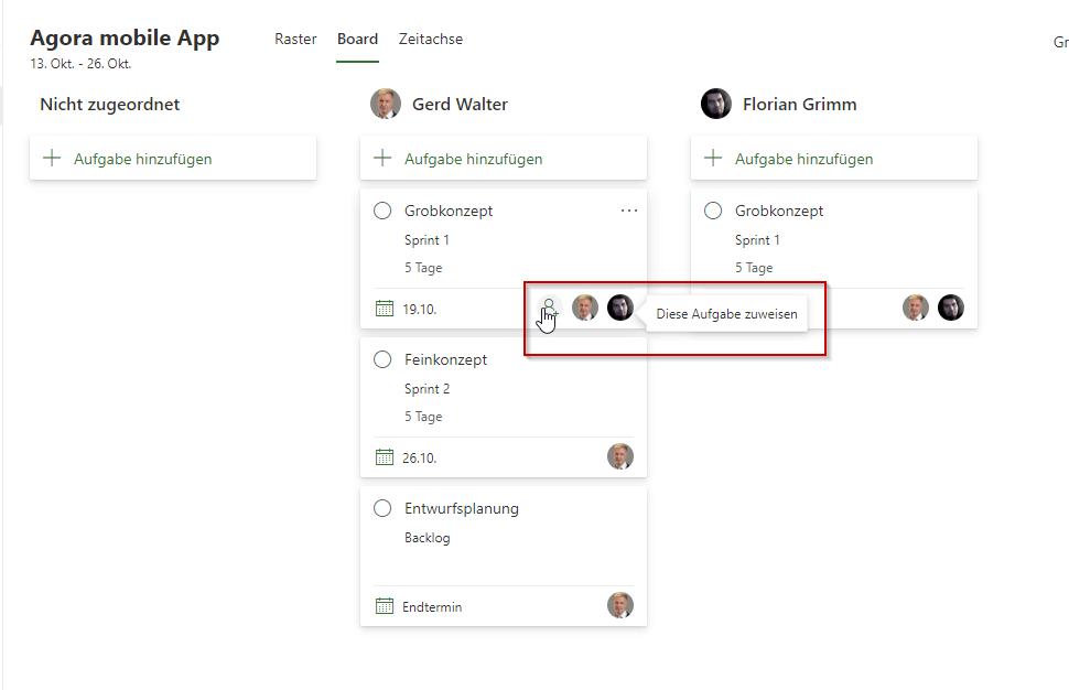 Board-Ansicht in Project for the web Aufgabe einem weiteren Mitglied zuweisen